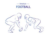 Football americano Siluette di contorno illustrazione vettoriale