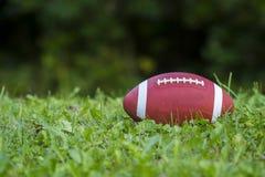Football americano sul campo con erba verde fotografie stock libere da diritti