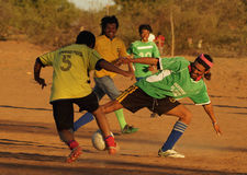 Football amical game outside Royalty Free Stock Photos