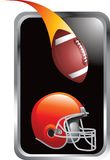 Football And Helmet In Silver Frame Stock Image