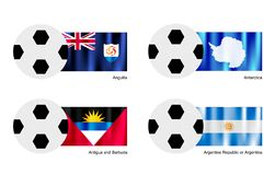 Football with Anguilla, Antarctica, Antigua and Ba Stock Photos