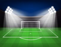 Football arena field with bright stadium lights Vector illustration. Eps 10 Royalty Free Stock Photos