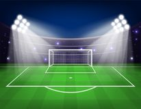 Football arena field with bright stadium lights Vector illustration. Eps 10 Stock Photography