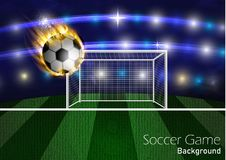 Football arena with a soccer ball. In fire. Vector Royalty Free Stock Image