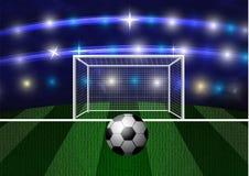 Football arena with a soccer ball. Vector Stock Photo