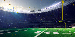 Football Arena Stadium Day championship win. blue toning. Football Arena Stadium Day championship win. Confetti and tinsel Stock Image