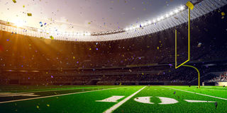 Football Arena Stadium Day championship win. Confetti and tinsel Royalty Free Stock Photos