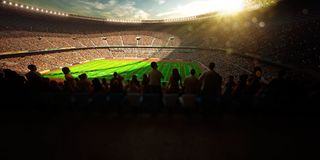 Football Arena Stadium Day championship win. yellow toning. Football Arena Stadium Day championship win. yellow royalty free stock images