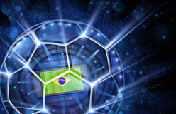 Football arena, top view. Football arena with a Brazilian flag. Vector illustration stock illustration