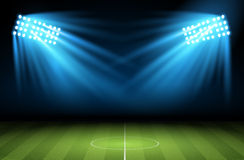 Football arena. Vector. Soccer field with searchlight, spotlight, projector vector illustration