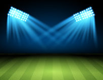 Football arena. Vector. Soccer field with searchlight, spotlight, projector stock illustration