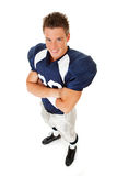 Football: Arms Crossed, Smiling Player Stock Image