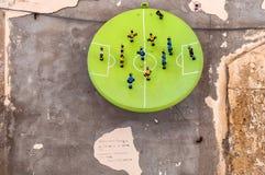 Football art installation in Syracuse - Italy Stock Photo
