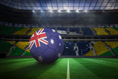Football in australia colours. In large football stadium with brasilian fans royalty free illustration