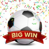 Football Award Vector. Red Ribbon. Big Sport Game Win Banner Background. Soccer Ball. Confetti Falling. Realistic.  Stock Photos