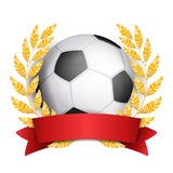 Football Award Vector. Sport Banner Background. Ball, Red Ribbon. Laurel Wreath. Soccer Ball. 3D Realistic Royalty Free Stock Photo