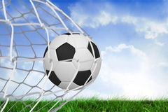 Football at back of net Royalty Free Stock Photos