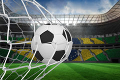 Football at back of net Royalty Free Stock Photo