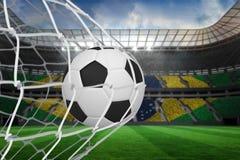 Football at back of net Royalty Free Stock Photo