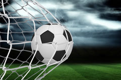 Football at back of net Royalty Free Stock Images