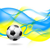 Football background. Football or soccer ball on wavy background in colors of Ukrainian flag, venue for the European Championships 2012, white background Stock Photo