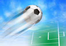 Football background. Abstract football background with flying ball Royalty Free Stock Images
