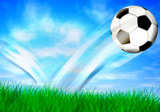 Football background. Abstract football background with flying ball Stock Image