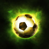 Football Background. The ball surrounded with fire, abstract football background Stock Image