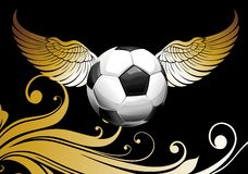 Football background with ball and wings. Ball wing competition soccer olympiad  champion Stock Photos