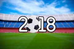 Football 2018 background - blurred soccer field on the modern st Royalty Free Stock Photography