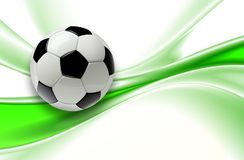 Football background 3d. Green with soccer ball Royalty Free Stock Photo