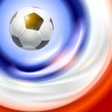Football background with france flag colors. Stock Photo