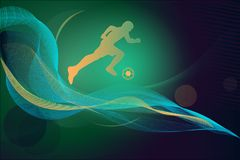 Football background, illusrtation ball man green blue royalty free illustration