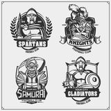 Football badges, labels and design elements. Sport club emblems with ancient warriors. Print design for t-shirt. Vector stock illustration