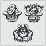 Football badges, labels and design elements. Sport club emblems with pirate,cowboy and viking. Vector Stock Photography