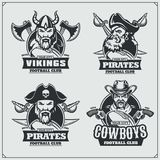 Football badges, labels and design elements. Sport club emblems with pirate,cowboy and viking. Football badges, labels and design elements. Sport club emblems Royalty Free Stock Images