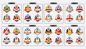 Football Badges. Badges of National Flag of competitors of Fifa World Cup, Brazil 2014 royalty free illustration