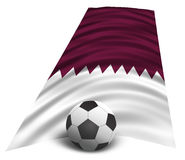 Football ball. Illustration of a Qatar national flag with a soccer ball, symbolizing the 2022 World Cup Stock Images