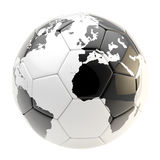 Football ball as an Earth planet sphere isolated Royalty Free Stock Photos