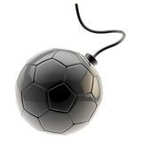Football ball as a glossy black bomb isolated Stock Photos