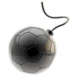 Football ball as a glossy black bomb isolated Stock Photos
