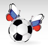 Football ball background with two butterflies and flag of Russia Stock Image