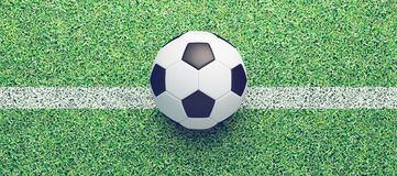 Football ball, banner, render 3d illustration Royalty Free Stock Images