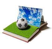 Football ball in book Stock Photography