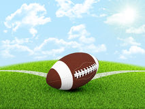 Football ball in the corner of field Royalty Free Stock Image
