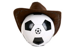 Football ball with cowboy hat Stock Image