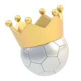 Football ball in the crown isolated Royalty Free Stock Photo