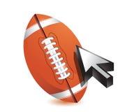 Football ball with cursor arrow - sport shopping Royalty Free Stock Photos