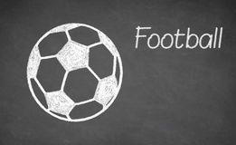 Football ball drawn on chalkboard. Stock Images