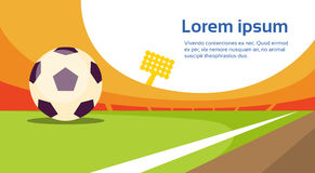 Football Ball At Field Stadium Banner With Copy Space Stock Images